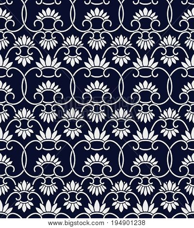 Seamless Blue Chinese Background Retro China Spiral Curve Cross Vine Cross Flower