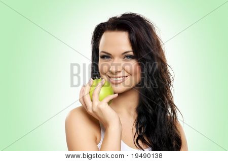 Portrait of young and attractive woman over white