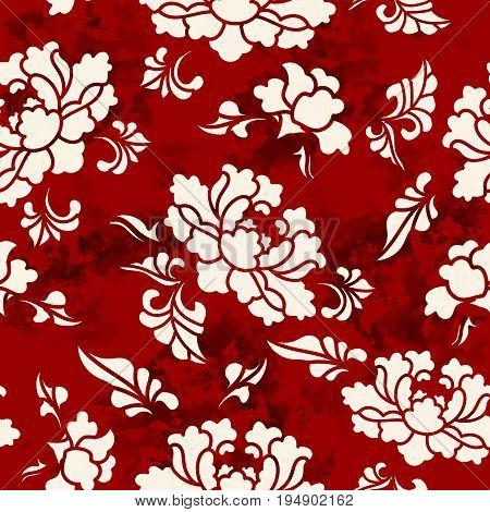 Seamless Vintage Red Chinese Background Botanic Garden Flower Blossom