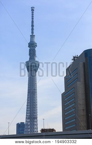 Tokyo Japan - April 9 2016: View of Tokyo Sky Tree near Sumida river in Japan.