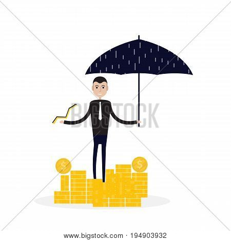 Manageroffice worker or businessman with the beard holding an open umbrella over golden coins. Concept of business insurance.Vector flat design illustration