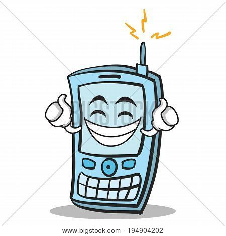 Proud face phone character cartoon style vector illustration