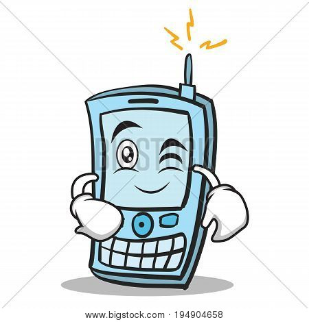 Wink face phone character cartoon style vector illustration