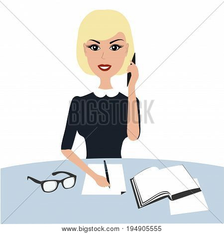 Vector business woman on table with phone.Blond Business woman with phone.Blonde business girl talking on the phone isolated on white background.