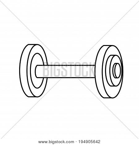 line dumbbell fitness tool to do exercise and training vector illustration