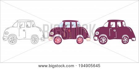 Set of hand drawn car, outline car, doodle car, reto and silhouette cartoon car