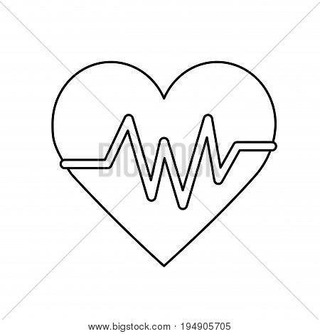 line heartbeat element to know cardiac rhythm vector illustration