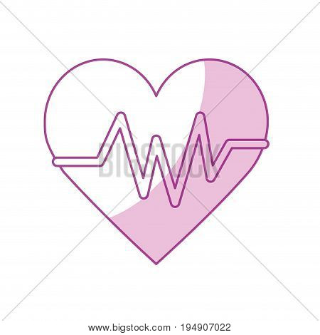 silhouette heartbeat element to know cardiac rhythm vector illustration