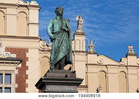 Adam Mickiewicz Monument in Krakow. Is one of the best known bronze monuments in Poland. The statue of Adam Mickiewicz the greatest Polish Romantic poet of the 19th century was unveiled on 1898.