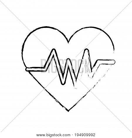 figure heartbeat element to know cardiac rhythm vector illustration