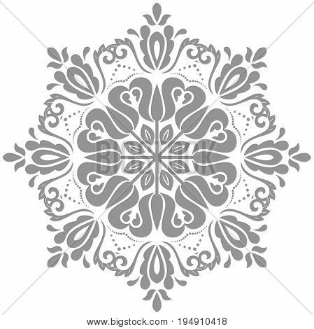Oriental vector pattern with arabesques and floral elements. Traditional classic round silver ornament. Vintage pattern with arabesques