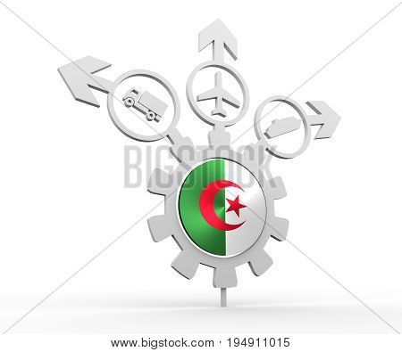 Delivery emblem design. Truck, airplane and ferry boat icons on destination arrows. Flag of the Algeria in the center of gear. 3D rendering