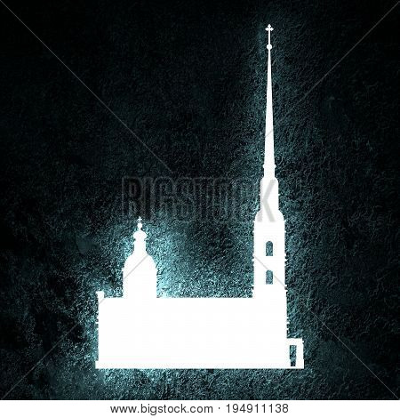 Peter and Paul fortress in Saint Petersburg, Russia. Simple silhouette. Neon bulb illumination