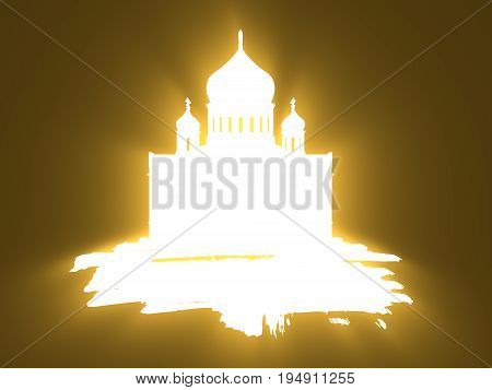 Cathedral of Christ the Savior in Moscow. Simple silhouette on grunge brush. 3D rendering. Neon bulb illumination