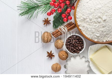 Ingredients for baking. Selection for Christmas cookies or muffins with chocolate drops.