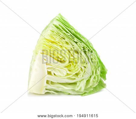 Cabbage cut on the white background fresh cabbage isolated