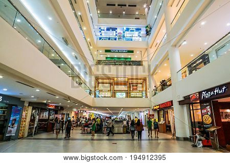 Kota Kinabalu,Sabah-June 17,2017:View of centre mall hall of Suria Sabah Shopping Mall in Kota Kinabalu,Sabah,Malaysia.It is located in the center of the of Kota Kinabalu city.