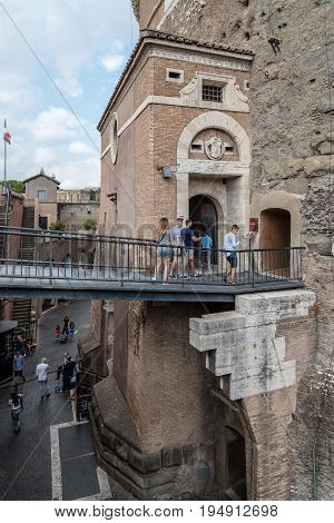 Rome Italy - August 19 2016: Courtyard of Mausoleum Castel Sant Angelo. The Mausoleum of Hadrian usually known as Castel Sant'Angelo is a towering cylindrical building in Rome