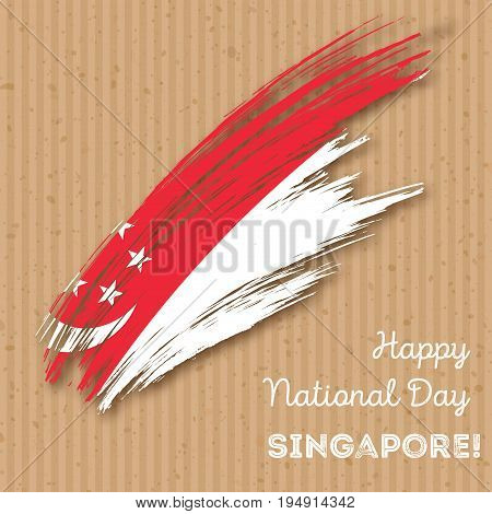 Singapore Independence Day Patriotic Design. Expressive Brush Stroke In National Flag Colors On Kraf