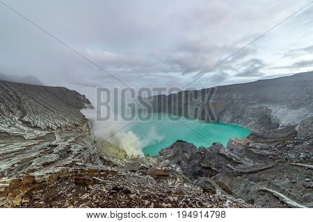 Kawah Ijen Volcano Is A Stratovolcano In The Banyuwangi Regency Of East Java, Indonesia