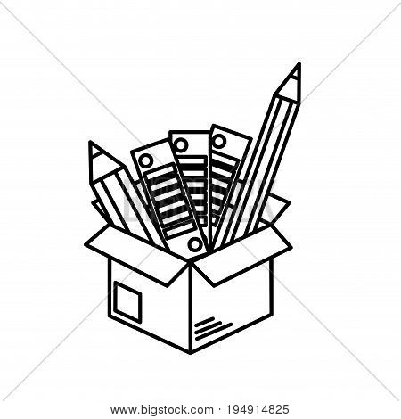 line box with pencils and palettes inside vector illustration