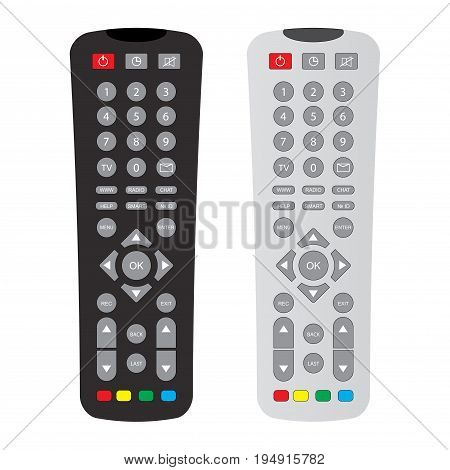 black and gray remote control with buttons isolated over white background, stock vector illustration