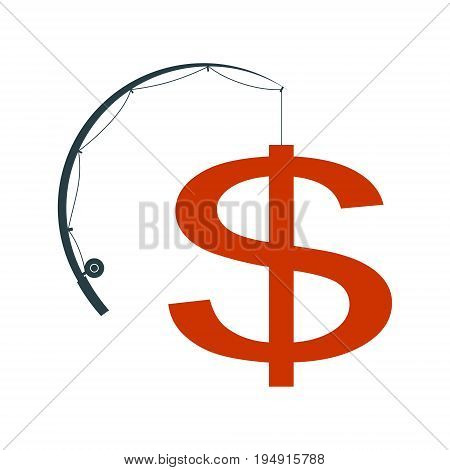 Catch money concept. Fishing rod catching a dollar sign. Vector illustration