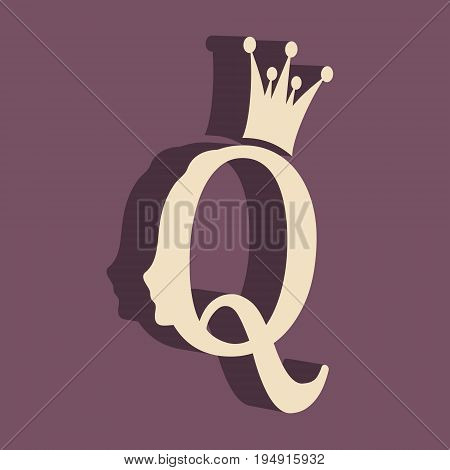 Vintage queen silhouette. Medieval queen profile. Elegant outline silhouette of a female head. Vector Illustration. Isometric icon. Royal emblem with Q letter