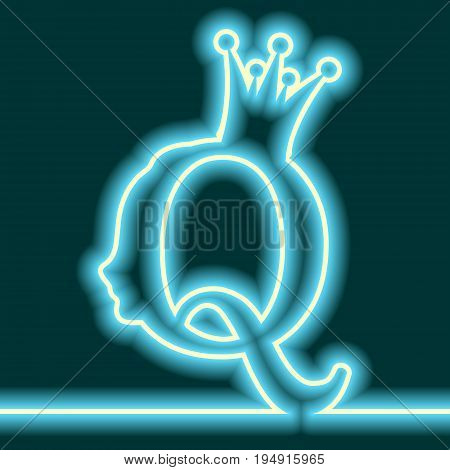 Vintage queen silhouette. Medieval queen profile. Elegant outline silhouette of a female head. Royal emblem with Q letter. Neon bulb illumination