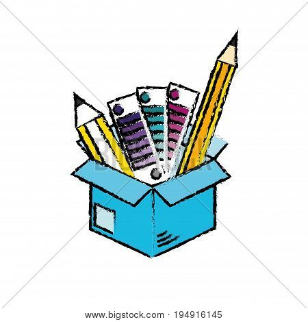 box with pencils and palettes inside vector illustration