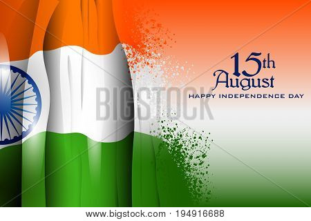 easy to edit vector illustration of Indian Flag on Happy Independence Day of India background