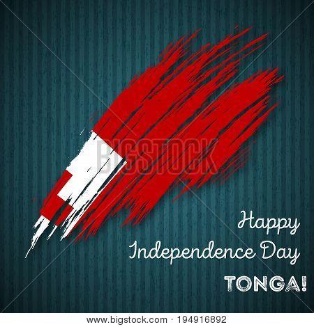Tonga Independence Day Patriotic Design. Expressive Brush Stroke In National Flag Colors On Dark Str