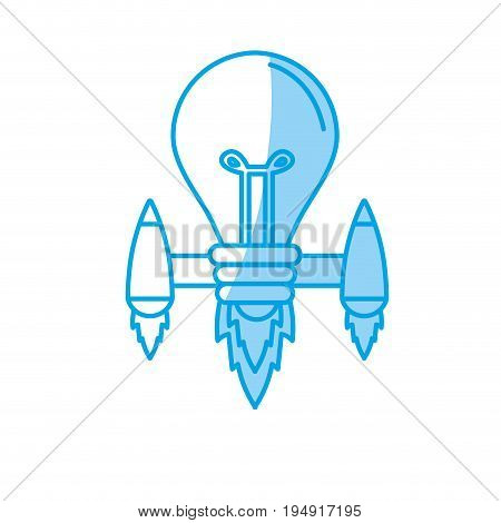 silhouette bulb with thrusters to creative idea vector illustration