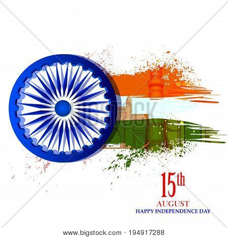 easy to edit vector illustration of Ashoka Chakra on Happy Independence Day of India background