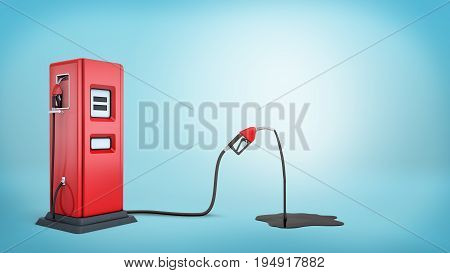 3d rendering of a red gas pump connected to a red nozzle that's leaking petrol into a black puddle. Car stop. Gas station. Transportation business.