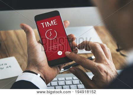 Time concept on a digital device screen