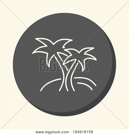 Two palms on the island vector round linear icon with the illusion of volume simple color change