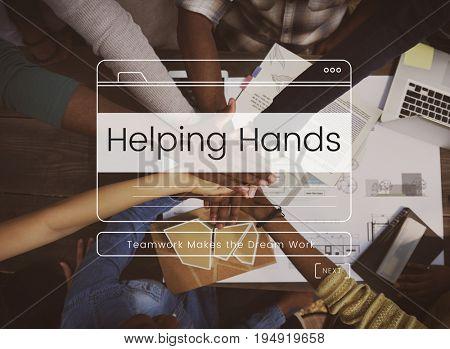 Helping Hands Volunteer Support Message Box Window Graphic