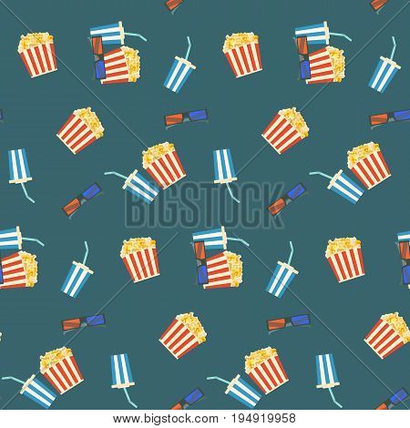 Cute cartoon cinema entertainment seamless pattern with popcorn cola and 3d glasses. Colorful movie texture for design banners textile covers surface wallpaper backgrounds wrapping paper