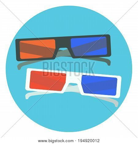 Flat vector colorful black and white 3d cinema glasses. Nice cartoon 3d cinema glasses with red and blue lens and black and white frames for design logotype banners prints surface