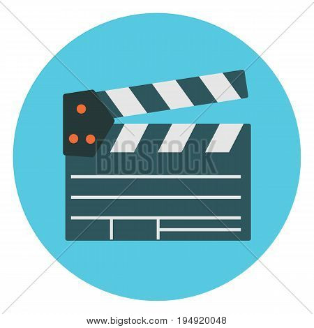 Flat cartoon colorful vector cinema clapper icon. Movie production symbol for design logotype banners prints surface