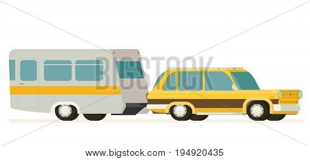 Flat vector Yellow Car Pulling Trailer isolated on white background