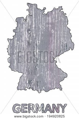 Hand-drawn abstract watercolor background. Germany map outline. Used colors: Manatee Spanish gray Roman silver Metallic silver Philippine silver White Quick Silver Philippine gray.