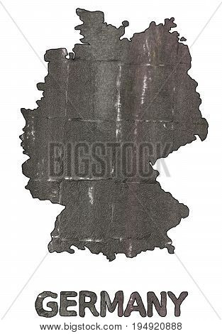 Hand-drawn abstract watercolor background. Germany map outline. Used colors: Black olive Wenge Granite Gray Dark liver Davys grey Rifle green Dim gray Nickel Sonic silver Dark lava.