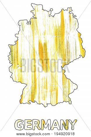 Hand-drawn abstract watercolor background. Germany map outline. Used colors: White Lotion Milk Ivory Baby powder Saffron Arylide yellow Corn Light yellow Sandstorm Banana yellow.