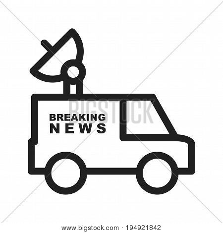News, van, television icon vector image. Can also be used for news and media. Suitable for mobile apps, web apps and print media.