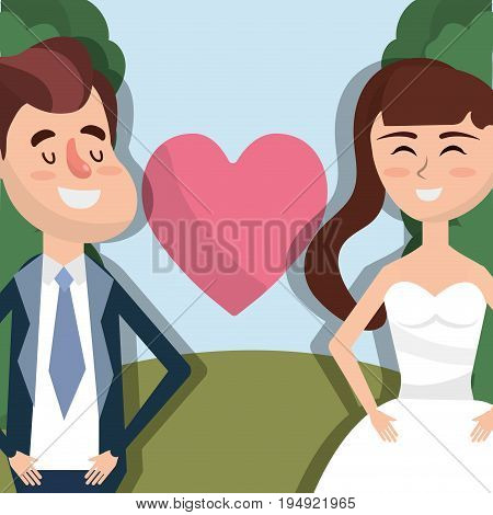 happy couple married with heart vector illustration