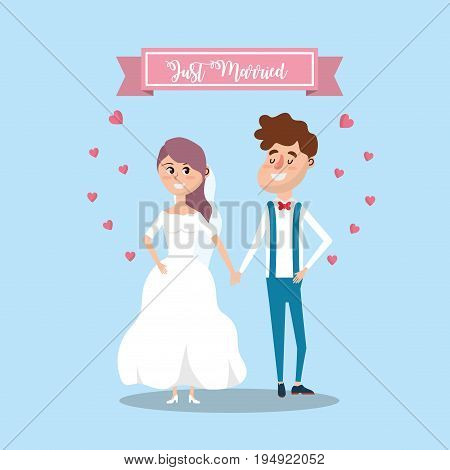 couple married with ribbon and hearts design vector illustration