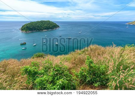 Tropical seascape viewpoint with blue sky in PhuketThailand