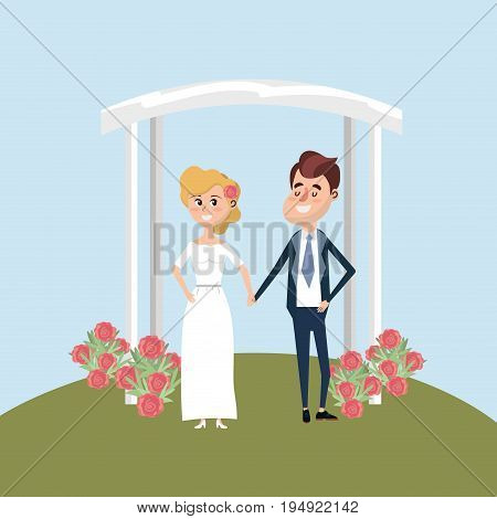 couple married with flowers decoration design vector illustration